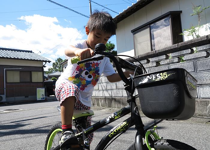 長男と自転車