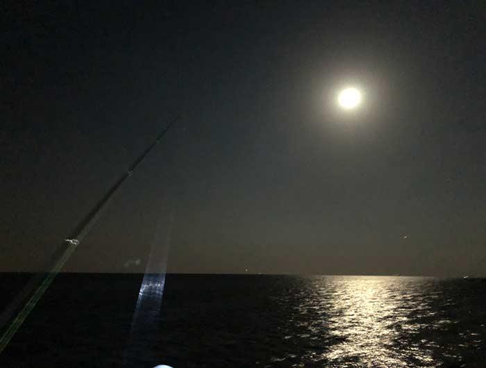淡路島の海と月