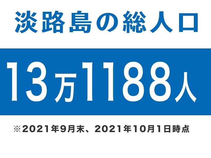 淡路島の総人口は、13万1188人です