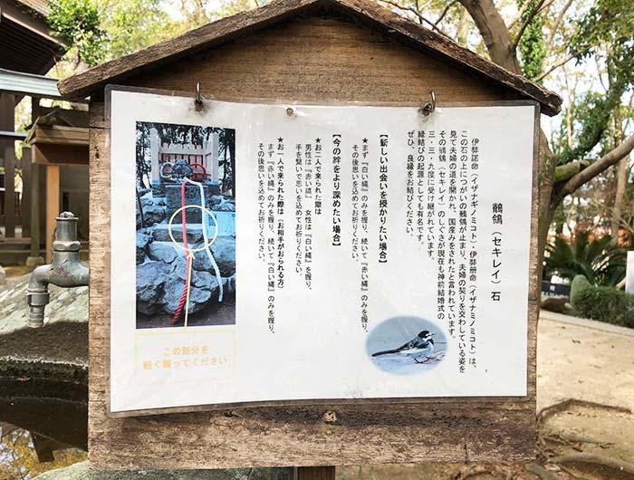 おのころ神社のセキレイ石の説明看板