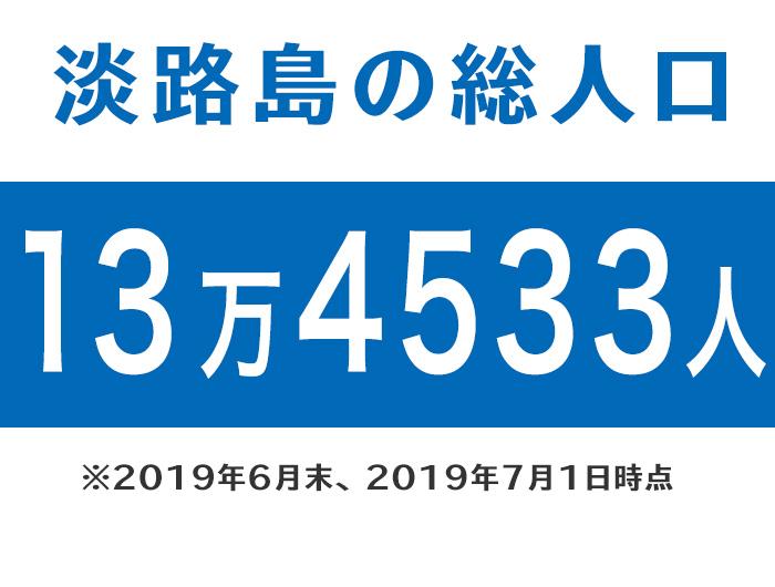 淡路島の総人口13万4533人※2019年6月末時点