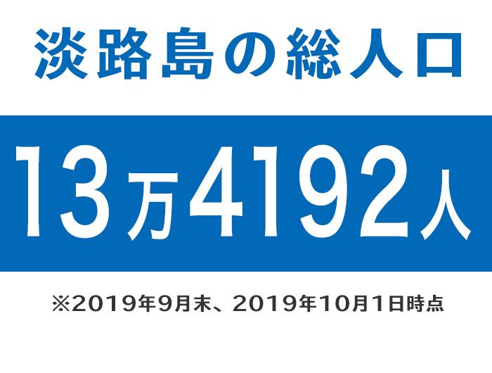 淡路島の総人口は、13万4192人
