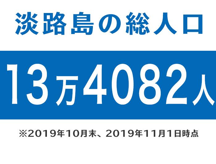淡路島の総人口は、13万4082人