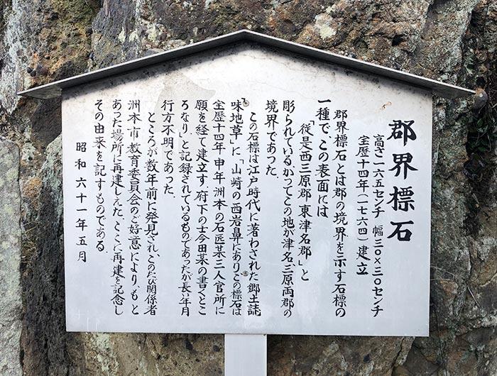 郡界標石の看板