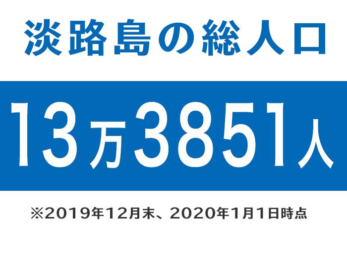 淡路島の総人口は、13万3851人(2020年1月時点)