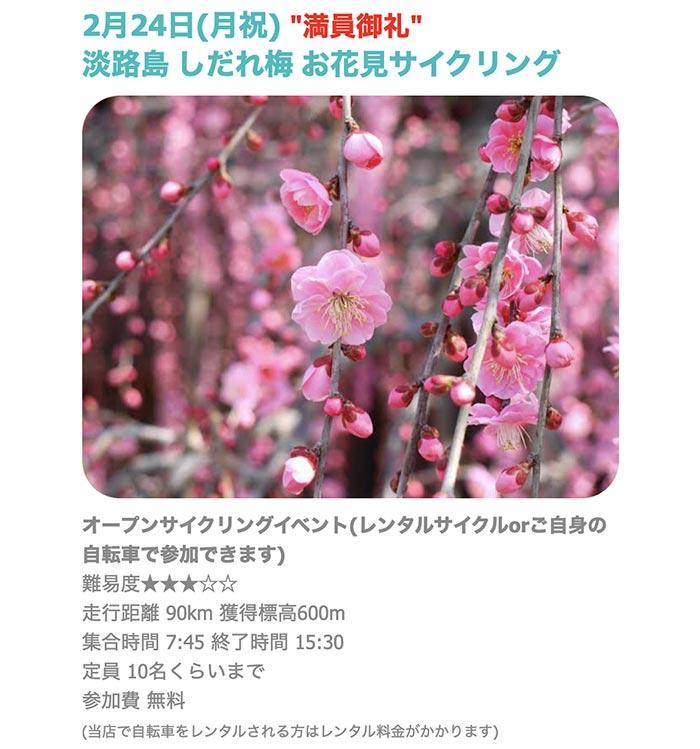 淡路島しだれ梅お花見サイクリングイベント