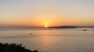 淡路島から望む紀淡海峡の朝焼け