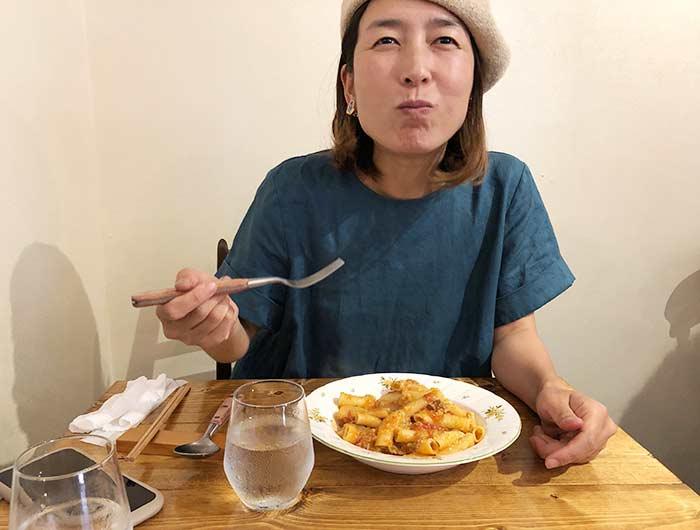 奥さんパスタを食べて大満足