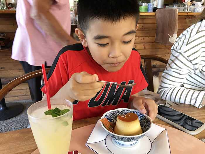 プリンを食べる息子