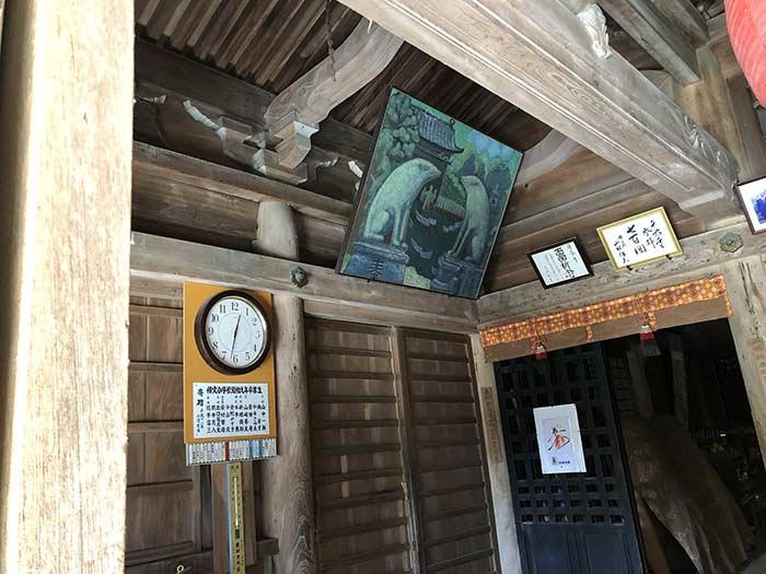 堂内に飾ってある狛猪の絵