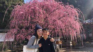 枝垂れ梅の前で記念撮影